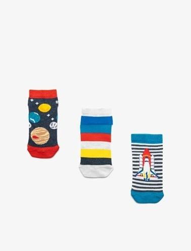 Koton Kids 3'lü Erkek Çocuk Çorap Mavi
